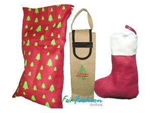 Traditional Christmas Sack / Stocking /Wine Bag - Xmas Natural Jute Eco Friendly