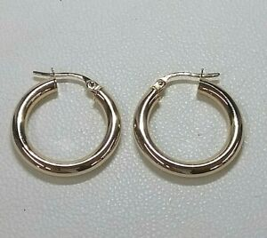 Genuine 9ct Hallmarked gold Small-Medium Hoop  Earrings Real Gold
