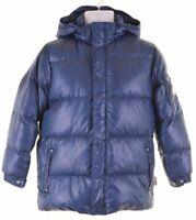 CHAMPION Boys Padded Jacket 11-12 Years Large Blue Polyester  EI11