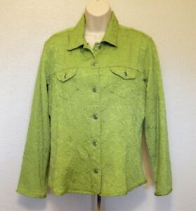 Chico's 1 Jacket M 8 Green Floral Textured Long Sleeve Polyester Blend CLEARANCE