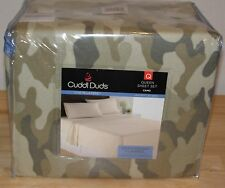 Cuddl Duds Flannel Queen Sheet Set Camouflage Green Heavyweight Brushed Cotton
