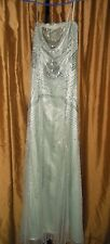 Adrianna Papell Wave Beaded  Designer Dress Size 10 NWT