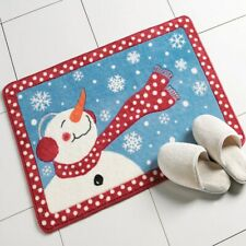 Winter Scene Frosty The Snowman Christmas Bath Mat with Non-Slip Rubber Back