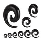 BLACK ACRYLIC EAR SPIRALS Piercing Plugs Tunnels Tapers Jewellery Stretchers SP1