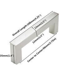 "1/2"" Square Corner Cabinet Door Handles Pull Knob Stainless Steel Brushed Nickel"