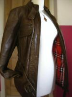 size UK 14 12 Ladies NEXT brown real leather belt JACKET SAFARI check biker