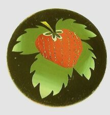 Antique Vintage Large Oval Strawberry & Leaves  Black Background Piece #AA32
