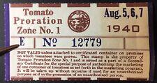 California State Revenue - Tomato Proration Tax #TM190 Aug 5-7, 1940 MNH - CA