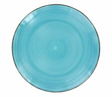 Set of 4 Royal Norfolk Turquoise Swirl Stoneware Dinner Plates, 10.5 in. F/S