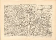 Map Carte  MAUBEUGE DOUAI CAMBRAI VALENCIENNES GRAVURE ANTIQUE OLD PRINT 1880