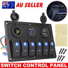 6 GANG 12V Switch Panel USB ON OFF Toggle Blue LED Rocker for Car Boat Marine RV
