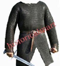 9MM CHAIN MAIL SHIRT MEDIEVAL HAUBERK X- LARGE Armor FLAT-RIVETED WITH WASHER