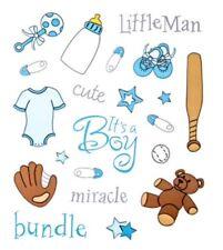 Baby Boy Little Man Teddy Bear Bottle Scrapbook Stickers