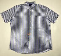 Faconnable Classique Mens Blue Striped Short Sleeve Button Down Size XL