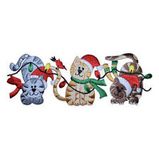 Large Christmas Cats with Lights and Santa Hat Applique Patch (Iron on)