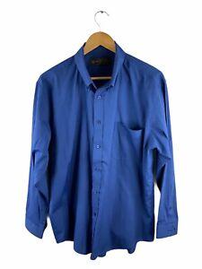 Taylor & Butler Men's Long Sleeve Shirt Size 42 Blue Button Up Collared Pocket