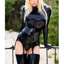 Latex Catsuit with Garter and Gloves Rubber Stocking for Women Club Wear
