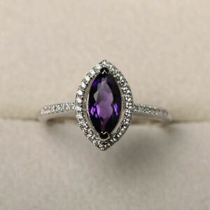 1.95Ct Marquise Amethyst Halo Style Diamond Proposal Ring 14K White Gold Over