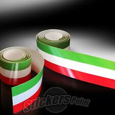 2 PEZZI Adesivo fascia striscia TRICOLORE cm 120 x 0,8 ITALIA bandiera italiana