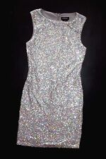 NWT bebe allover silver sequin sparkly shimmery clubbing top dress M Medium 6 8