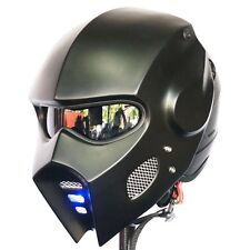 2017 Iron Man Mask Matt Black Motorcycle Helmet Open Face Moto Helme Lamp Custom