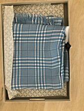 NWT Authentic BRIONI Blue Check 100% Silk Scarf Shawl