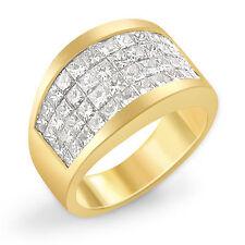 3 Ct Princess Diamond Mens Womens Anniversary Wedding Band Ring 14k Gold Yellow