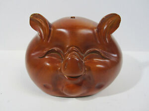 Wood Carved Rosewood Wooden Chinese Pig Piggy Bank Hand Crafted