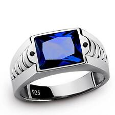 MENS RING BLUE SAPPHIRE with Black Onyx Accents in 925k SOLID Sterling Silver