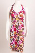 Boden Women's Dress Halter UK 8L US 4 4L Leaf Print Multicolored Ties Up V-Neck