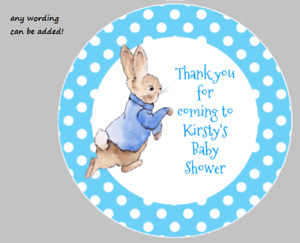 PERSONALISED STICKERS ADDRESS LABELS CIRCLE CHRISTENING BAPTISM PETER RABBIT