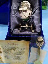 "Atlas Editions Enamelled Faberge Egg ""Yin Yang"" Inc Spoon & Certificate Trinket"