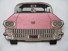 """7-7/8"""" PINK CAR EMBROIDERY APPLIQUE PATCH"""
