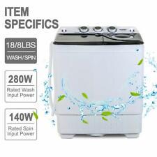 26 Lbs Mini Washing Machine Compact Twin Tub Laundry w/ Drain Pump Spiner Dryer