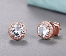 Sparkling Cubic Zirconia Rose Gold Plated Round Fine Stud Earrings UK
