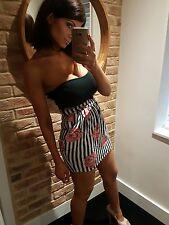 Topshop MOTEL Sexy Strapless Rose Print Striped Bandeau Mini Dress! Size S 8-10