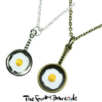 TFB - FRYING PAN NECKLACE Fried Egg Retro Food Quirky Novelty Kitsch Diner Funky