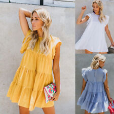 Womens Holiday Plain Smock Dress Ladies Summer Sleeveless Loose Frill Mini Dress