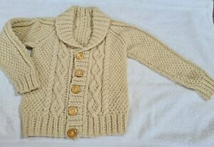 Boys Oatmeal/beige Cardigan, Shawl Collar, Button Front, Hand Knitted - Age 5...