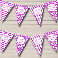 Party Banner Bunting Purple & White Stripes Snowflakes Christmas Decoration