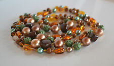 Antique Art Deco Czech Molded Green & Amber Glass Foil Necklace Faux Pearl 54''