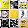 Yellow and Grey Geometric Cushion Cover Sofa Throw Square Pillow Case Home Decor
