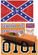 1:24 scale GENERAL LEE WATER-SLIDE DECALS FOR model car SLOT CAR: