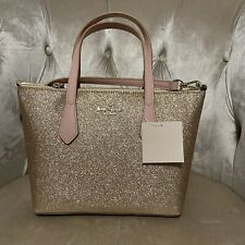 NWT KATE SPADE Joeley small Satchel handbag Crossbody Bag Glitter Rose Gold New
