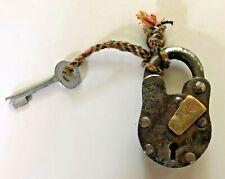 Antique/Vintage Iron Padlock w/ Working Key Braided String Hardware