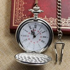 Vintage Full Silver Color Round Dial Necklace Pocket Watch Chain Women Men Gift