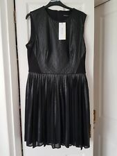 Karen Millen Faux Leather Pleated Dress Size 14