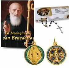 Medaglia di San Benedetto, libro, rosario e medaglia in metallo smaltato d.2 cm