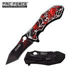 SPRING-ASSIST FOLDING POCKET KNIFE Black Tanto Blade Red Silver Spider Fantasy