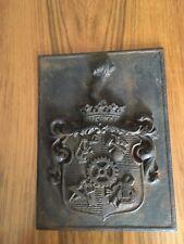 Coat of Arms Vintage Plaque Mason Bronze Decor Plate Door Front Emblem HUETTE